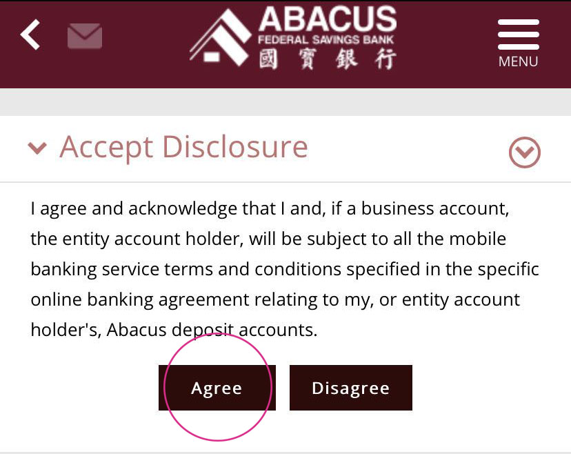 Abacus Online Bank Check Deposit Service Agreement
